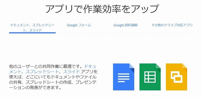 Googleドライブ内のアプリ